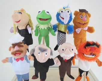 Disney Muppets Rare complete set hand puppets Muppet show 8 x