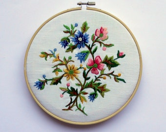 fiber art embroidery picture hoop art embroidered flowers wall hanging