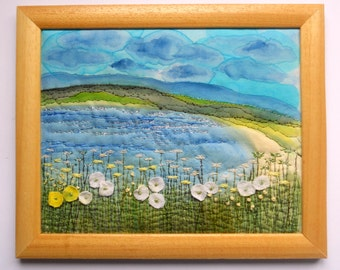 fiber art  wall hanging embroidered fabric painting embroidery picture