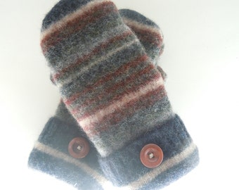 Upcycled felted wool sweater mittens