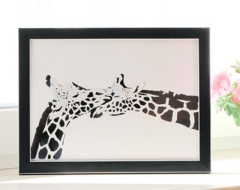 Giraffe Couple Art, First Anniversary Gifts for Couples, Gifts for One Year Wedding Anniversary, Unique 1 Year Anniversary Gifts, Paper Cut