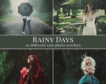 "Rain photo overlays ""Rainy days"",  20 different kinds of rain, rain photo overlays, fall photo overlays for Photoshop, autumnal overlays"