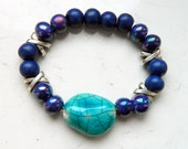 Cracked Turquoise Dark Sapphire Cobalt Blue Opalescent Ceamic Beads Elastic Bracelet - Inspired by Black Sails
