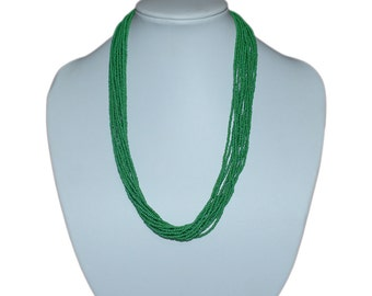 Green Multi-Strand Seed Beads Necklace,Nepal, N101 | Glass necklace | Green necklace | handmade necklace