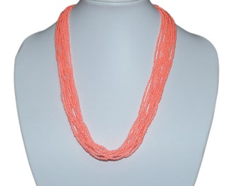 Elegant Neon Peach Multi-Strand Seed Beads Necklace,Nepal ,Hand made, N103