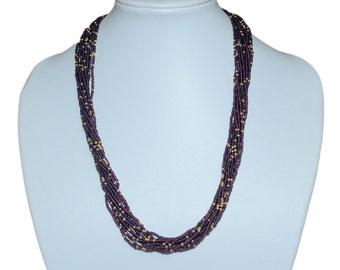 Elegant Purple, Metallic Gold Multi-Strand Seed Beads Necklace,Nepal ,Hand made, N106