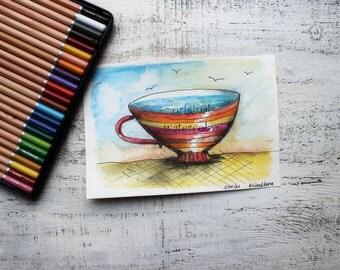 Original watercolor painting tea cup painting 5x8' kitchen decor nursery decor coffee cup mug sea ocean nautical watercolor nursery art