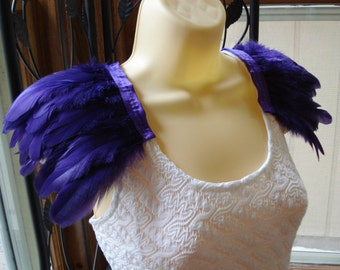 Purple Feather Epaulettes, Shoulder Feathers, Feather Shoulder Accessories, Feathered Shoulder Wings, Dark Purple Wings