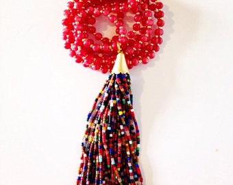 Rasberry Jade and Multi Color Tassel Necklace