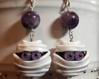 Adorable mummy earrings - Lampwork & amethyst beads in sterling silver