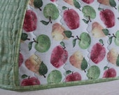Handmade quilted toaster cover 2 slice with green and red apples, orange yellow pears, plaid kitchen appliance, housewares, contemporary