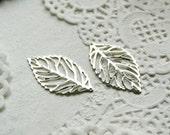 10pcs steel copper plating silver leaf pendant finding