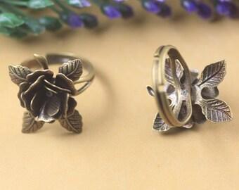 5 pcs raw Brass plating antique bronze flower Filigree ring cab pendant finding
