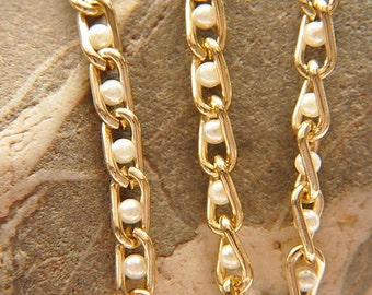 3 meters Aluminum chain plated gold with bead
