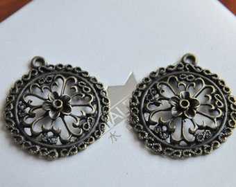 10 pcs   antique  bronze  plating flower cab  pendant finding