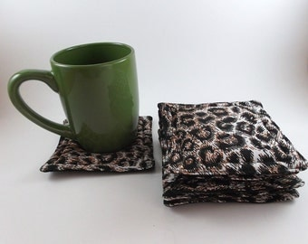 Animal Print Coaster Fabric Coaster Set of 6 Coasters Handmade Reversible Mat Table Protector Gift Exchange Christmas Gift Stocking Stuffers