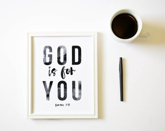 God is For You // Romans 8:31 Christian Bible Verse Scripture Print by Mercy Ink