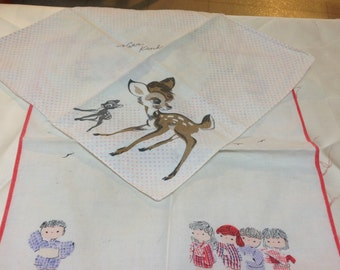 Two small handkerchiefs from Japan, Children and Deer.