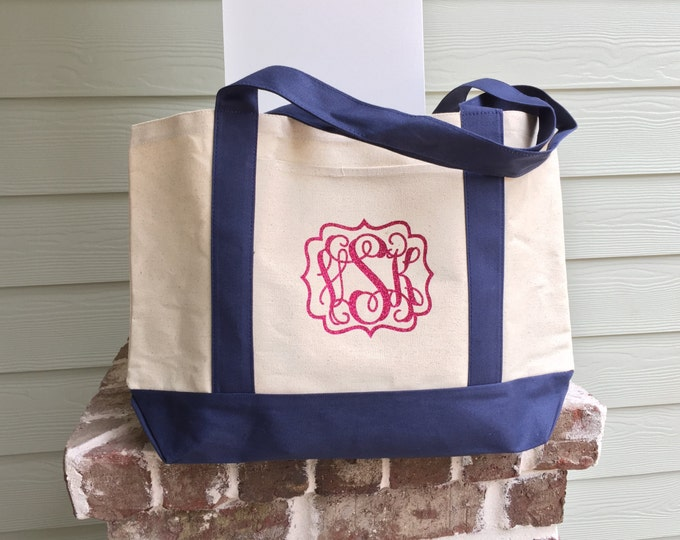 Monogrammed Canvas Tote Bag - Monogram tote bag, Boat tote, Weekend Bag, Bridesmaid gift, Monogrammed Gifts