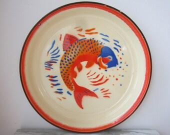 Rustic Enamel Tray - Fish