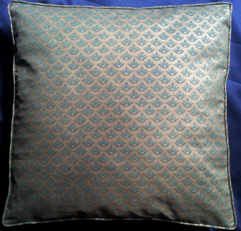 Fortuny Fabric Box Edge Throw Pillow Cushion Cover Green