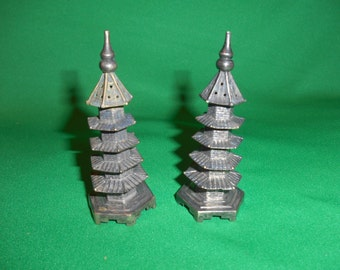One (1), Pair of Chinese Export, Silver Pagoda, Salt & Pepper Shakers, Circ. 1900.