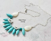 Necklace blu flowers, necklace chain, necklace stone, necklace turquoise, silver plated necklace