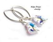 Earrings heart, earrings swarovski, earrings sterling silver, earrings loop, earrings crystal