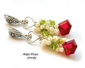 Earrings sterling silver,earrings cascade, earrings pearl, earrings quartz, earrings pearidote, earirngs gemstones , earrings red quartz