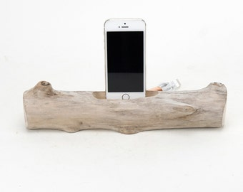 Docking Station for iPhone, iPhone dock, iPhone Charger, iPhone Charging Station, iPhone driftwood dock, wood iPhone dock/ Driftwood-No. 888