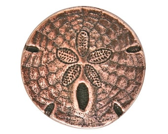 6 TierraCast Sand Dollar 11/16 inch ( 17 mm ) Copper Plated Pewter Buttons