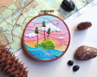 Woodland Embroidery Hoop Art, Boho Landscape, Lake House Decor, Cabin Wall Decor, Wilderness Art, Fiber Art, Nature Inspired, Gift for Hiker