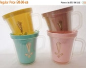 ON SALE Vintage Insulated Mugs, Set Of 4, Yellow, Pink, Turquiose, Tan, Gold Flour De Lis Pattern, Picnic, Shabby Chic, Cabin, Cottage Chic