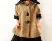 "ON SALE Vintage Eegee 23"" Fashion Doll, Hard Plastic And Vinyl, Dark Brown Hair, High Heel Feet, Black And Brown Dress, Wool Fur Coat, Colle"