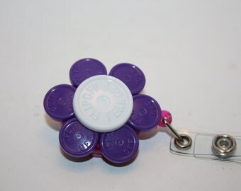 Upcycled/Recycled Retractable Flower ID Badge/Name Tag Holder Made From Flip Off Caps From Medication Vials-Office ID, Rn, Medical