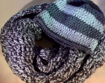 Blue Crochet Hat & Scarf Set