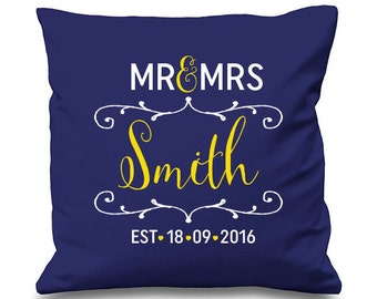 PERSONALISED Mr and Mrs WEDDING Cushion Cover