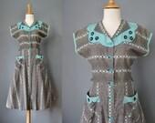 Gingham House Dress / Vtg 40s / Black White and Turquoise Gingham House Dress / Pockets/ Gingham Shirtwaist Dress