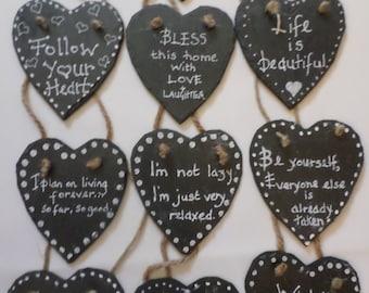 Slate heart hanging decoration, gift idea