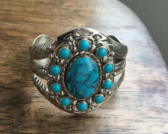 Vintage Turquoise Cuff  jewelry bracelet Southwest style Silver filled nickel  simulated turquoise  womens gift for her Birthday Mothers Day
