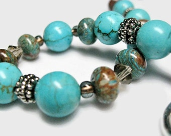 Turquoise Bracelet blue howlite aqua brown rhodonite stone swarovski smoke crystal silver toggle