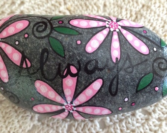 Happy Rock - Always - Hand-Painted River Rock Stone - pink daisies hot pink pansies flowers forever