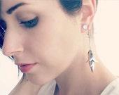 Silver Petal Flower Earrings. Dangling Textured Leaf Earrings. Extra Long Silver Chandelier Drop Earrings with Hammered Leaves.