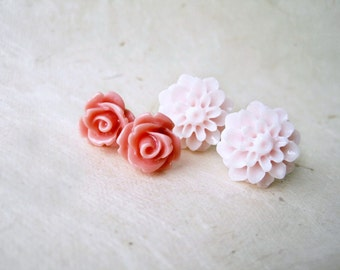 Pink Flower Earrings. Antique Pink Rose Resin Earrings. Blush Pink Flower Stud Earrings Set. Pink Wedding Bridesmaid Earrings Gifts.