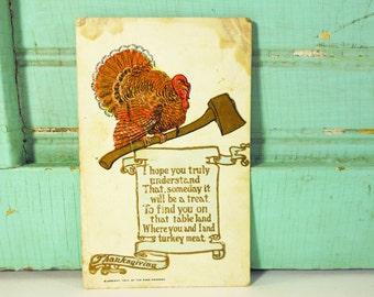 Antique Thanksgiving Turkey with Ax Turkey Meat Postcard 1907