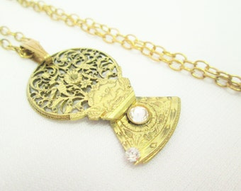 18th Century FUSEE BALANCE COCK With Face Necklace Brass Gold Vintage Pocket Watch Parts Guilloche Hand Pierced Swarovski by DKsSteampunk