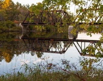 New Hampshire Art -  Nature photography, landscape, fall, autumn, fine art print, leaves, new england, Railroad, bridge, wall art