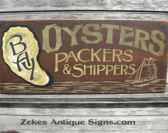 Bay Oyster  Sign, hand painted  wooden ZFS O2