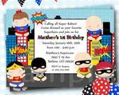 Superhero Invitations, Superhero Birthday Invites, Superheroes Birthday, Superhero Babies, Baby Superheros Birthday Invitation - #S78