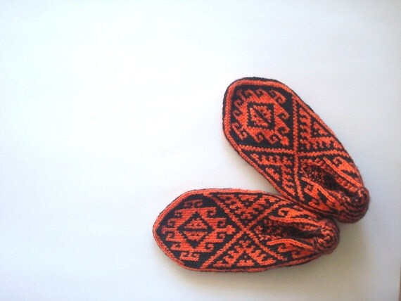 knit slippers, Orange and Black Traditional knitted Turkish slippers Socks, womens slippers, crochet slippers, gifts for her, women gifts